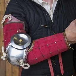 15 de acero de cuero del siglo protectores de los brazos, de color rojo