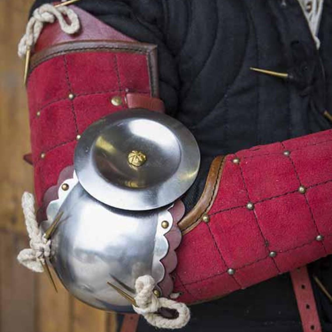Epic Armoury 15 de acero de cuero del siglo protectores de los brazos, de color rojo