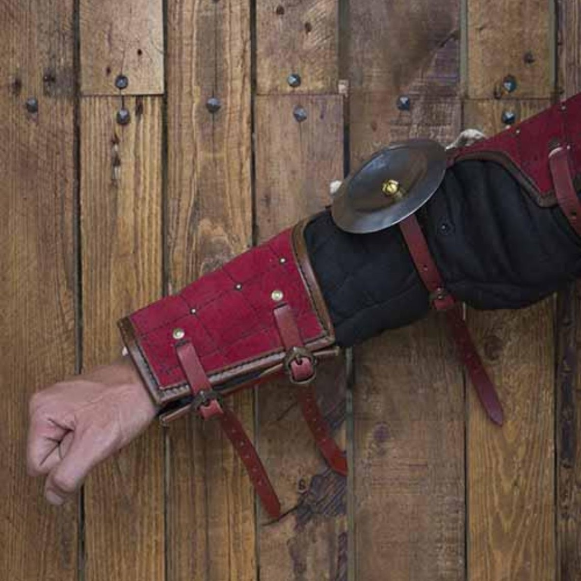 Epic Armoury 15th century steel-leather arm guards, red