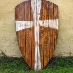 drewno tarcza LARP latawiec z białym krzyżem