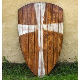LARP kite shield wood with white cross