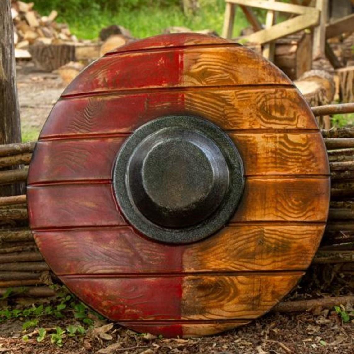 Epic Armoury escudo redondo LARP, rojo-madera 50 cm