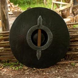 LARP runda sköld, röd-trä 50 cm