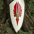 Epic Armoury LARP elvenschild rood-wit, 120 x 55 cm