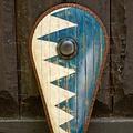 Epic Armoury LARP Norman Schild blau-weiß