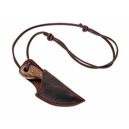 Damast cuchillo de cuello de acero con mango de madera
