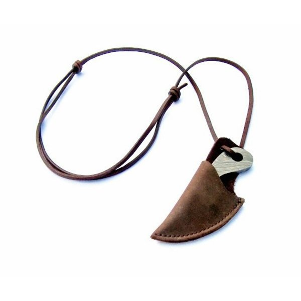Viking hals kniv damascus