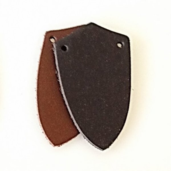 50x split leather shield-shaped piece for scale armour, brown