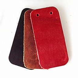 50x nubuck leather narrow rectangular piece for scale armour, red