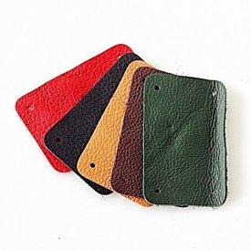 50x Nappaleder schmale rechteckiges Stück für Schuppenpanzer, rot
