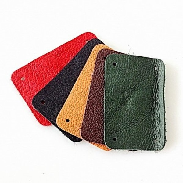 50x nappa leather narrow rectangular piece for scale armour, red