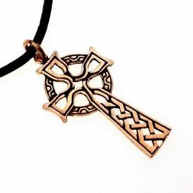 Celtic cross amulet, bronze