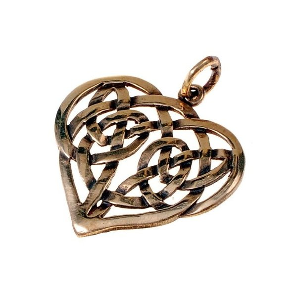 Celtic heart pendant, bronze