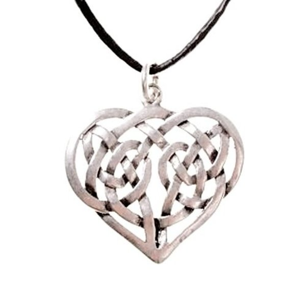Celtic heart pendant, silvered
