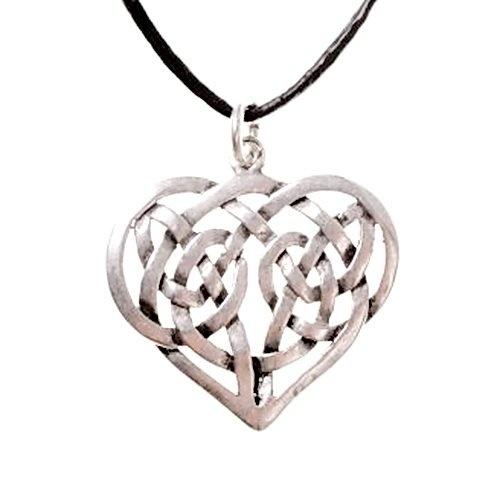colgante de corazón celta, plateado