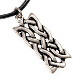 Pendente celtico rettangolare nodo motivo, argentato