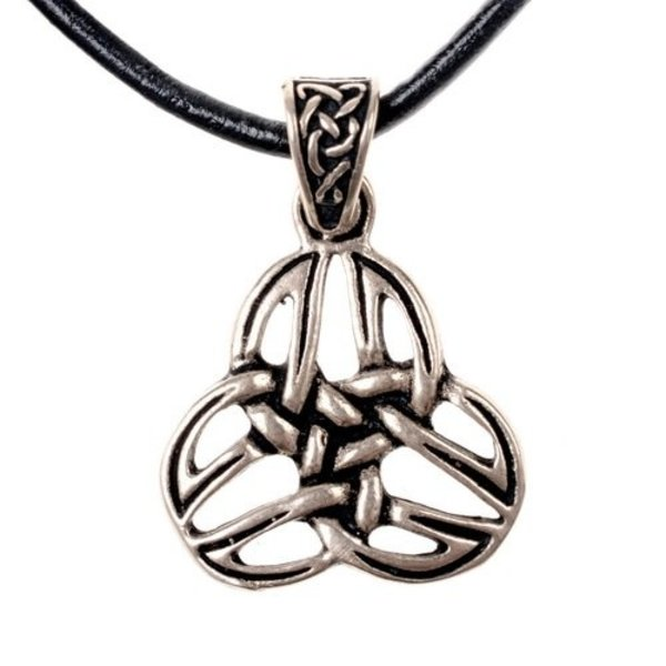 Pendentif celtique triquetra, bronze argenté