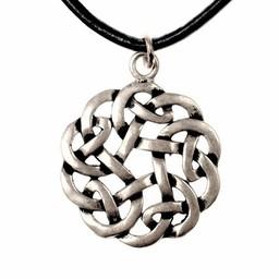 Amuleto nodo celtico rotondo, argentato