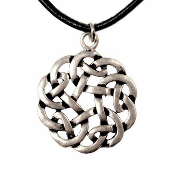 Amuleto nudo celta redondo, plateado