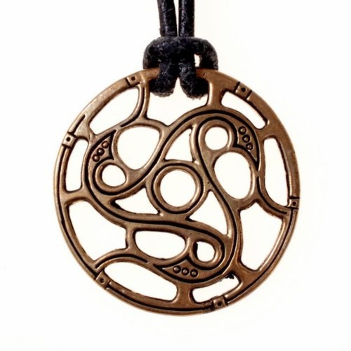 Trisquelion amulet Vendel stil, bronze