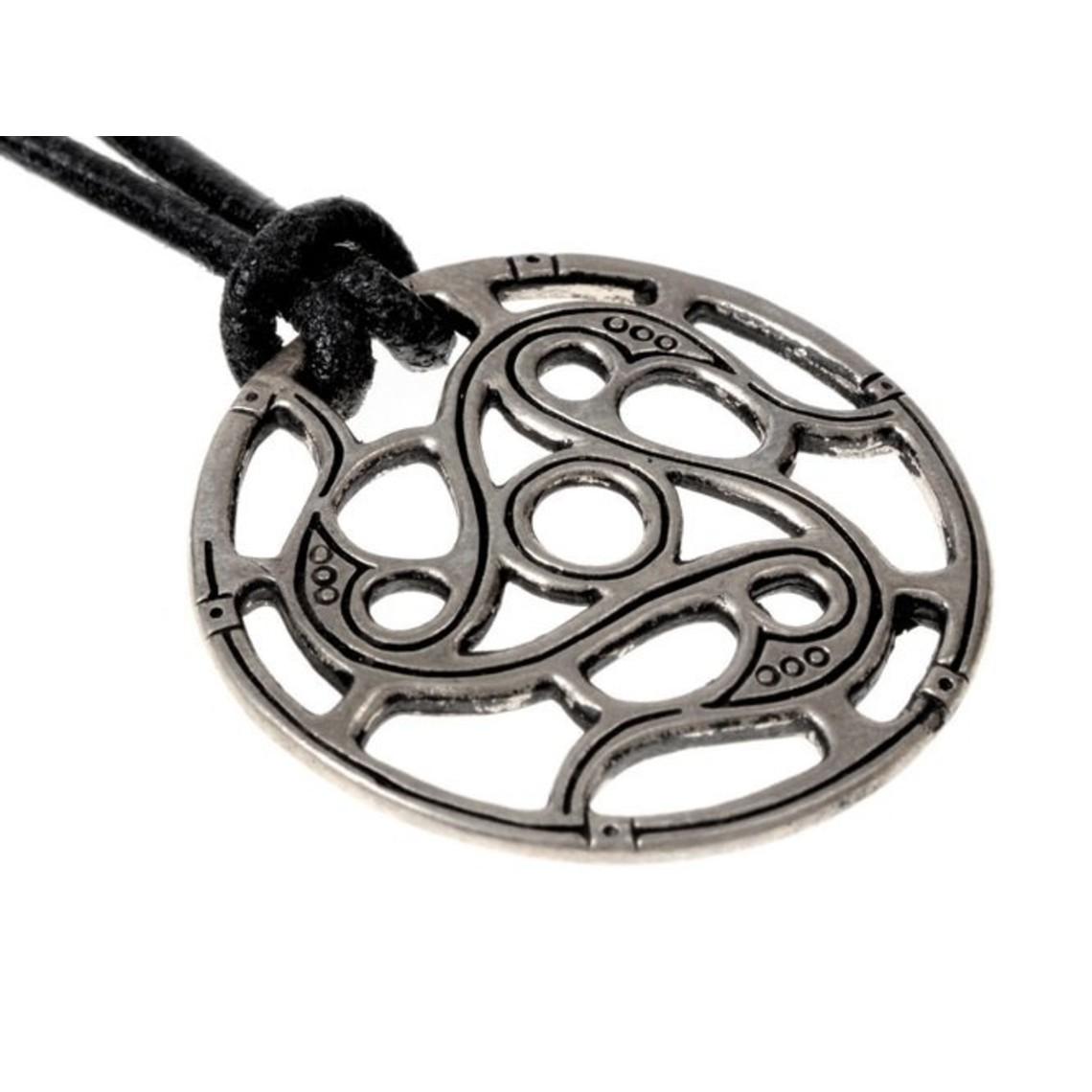 Trisquelion amulet Vendel style, silvered
