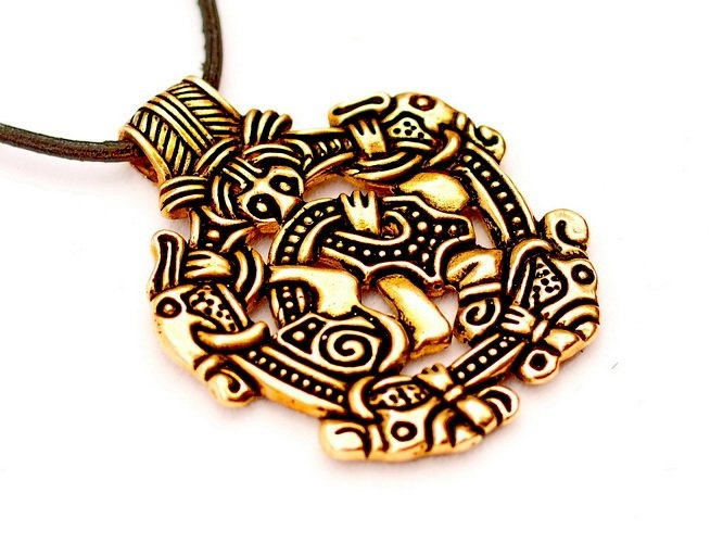 Vikingo joya de estilo Norfolk Borre, bronce