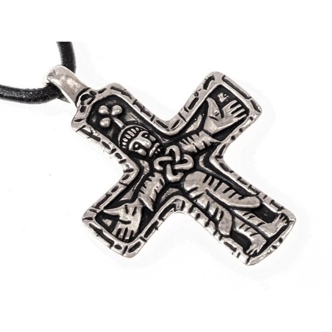 Gotland vichingo gioiello croce, argentato