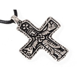 Gotland Viking cross jewel, silvered