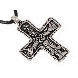 Gotlandia Viking krzyż klejnot, posrebrzane
