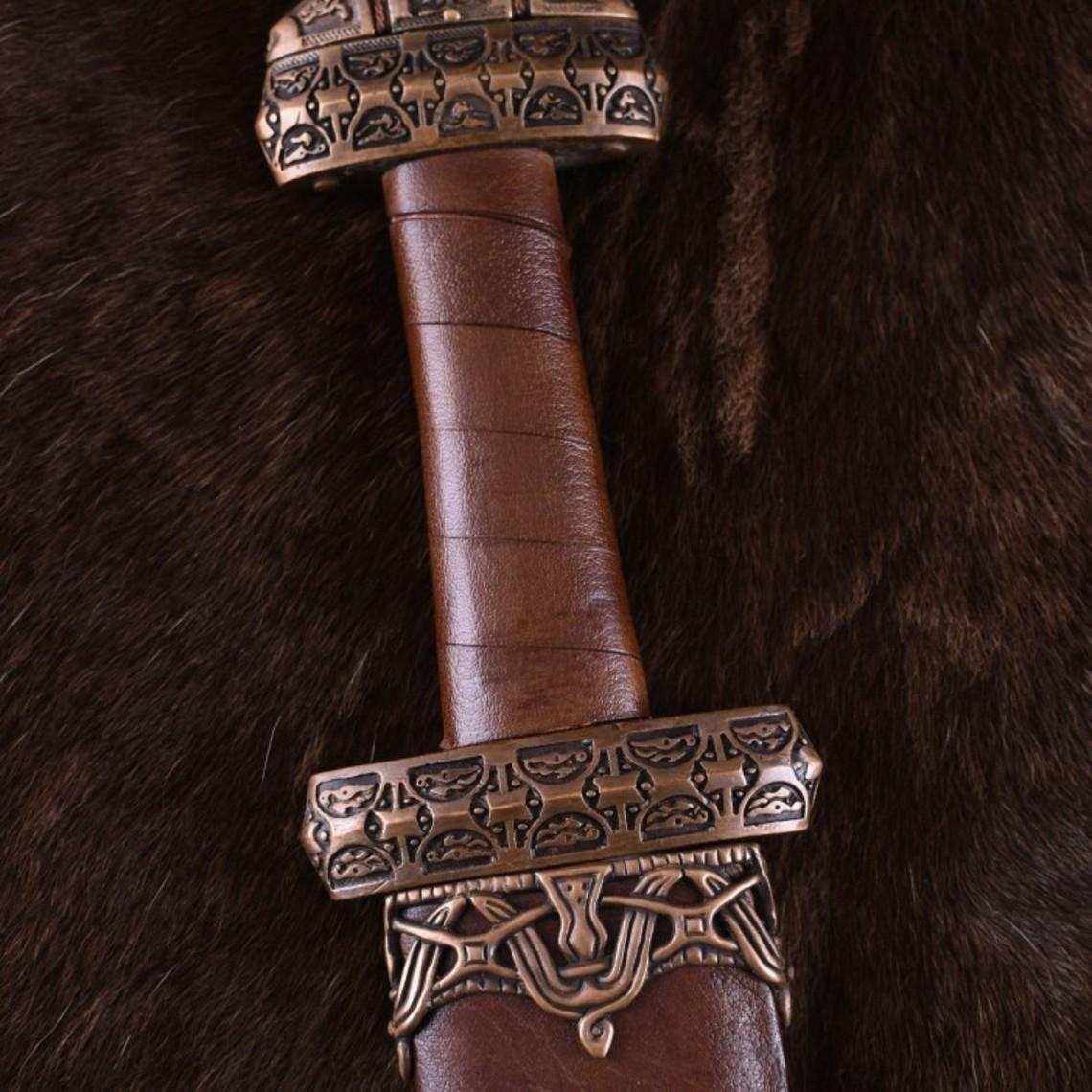 Deepeeka Viking isla Eigg espada, empuñadura de cuero, templado
