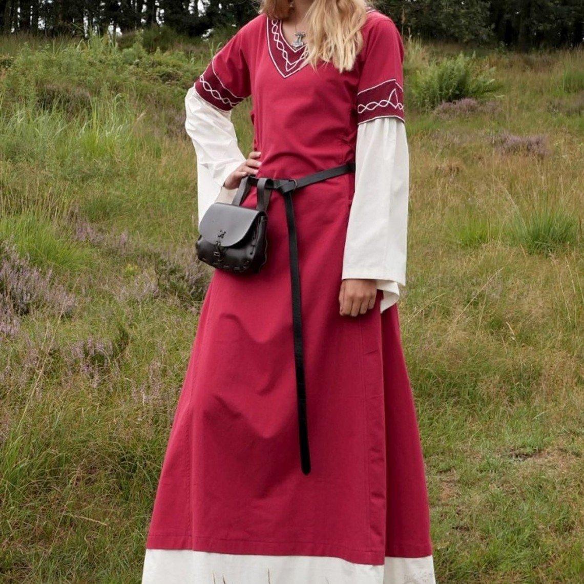 Gothic Kleid Fiona, rot-natur