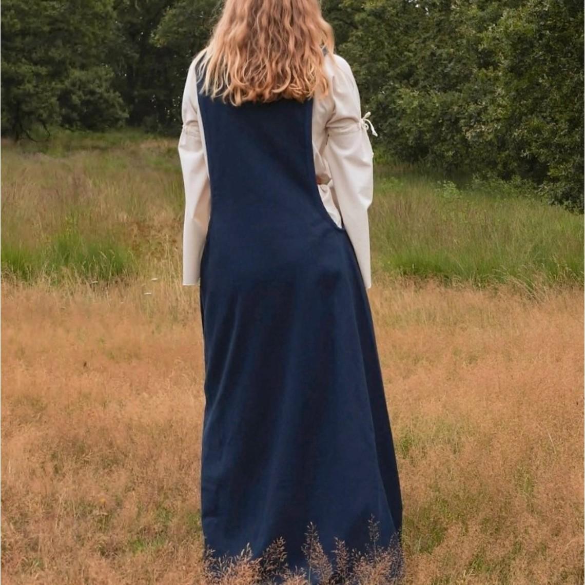 Surcotte médiévale Isabeau, bleu