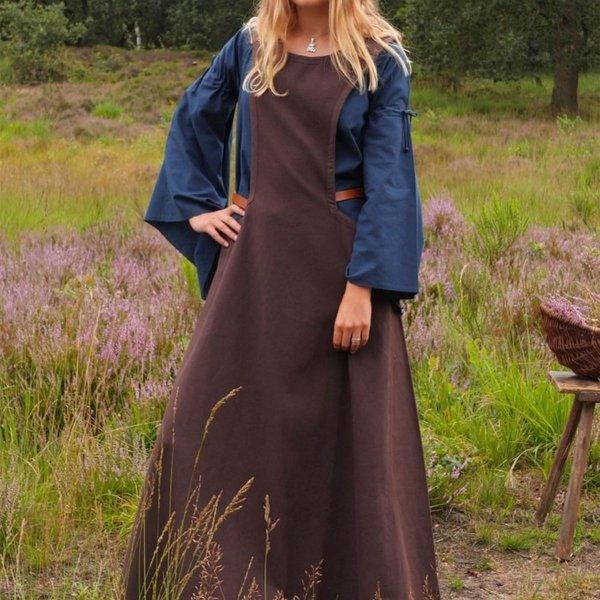 Middelalderlig surcotte Isabeau, brun