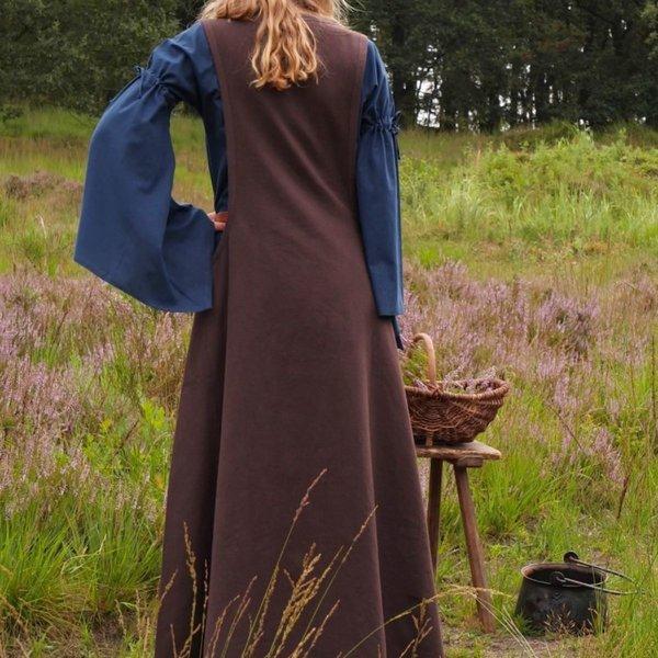 Średniowieczna surcotte Isabeau, brązowa