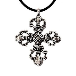 Viking cross Ringerike style, silvered