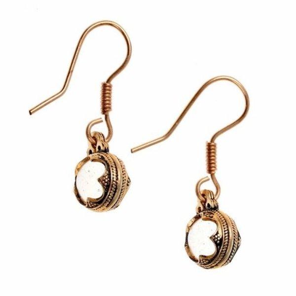 Earrings Gotland mountain crystal, bronze