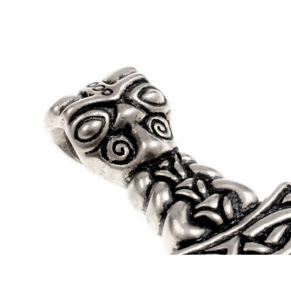 Tors hammare med varghuvud, brons