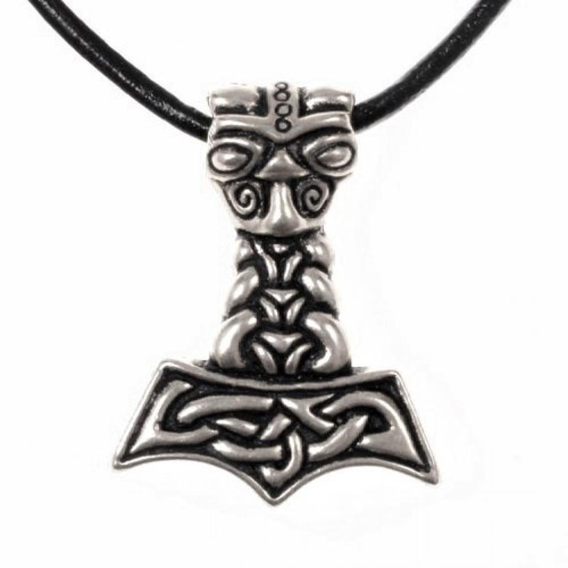 Thors martello con testa di lupo, argentato