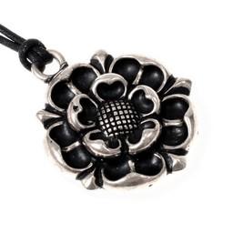 Tudor rosa amuleto, argentato