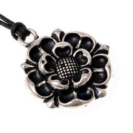 Tudor roos amulet, verzilverd