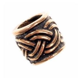 Beard bead with Celtic knot motif, bronze