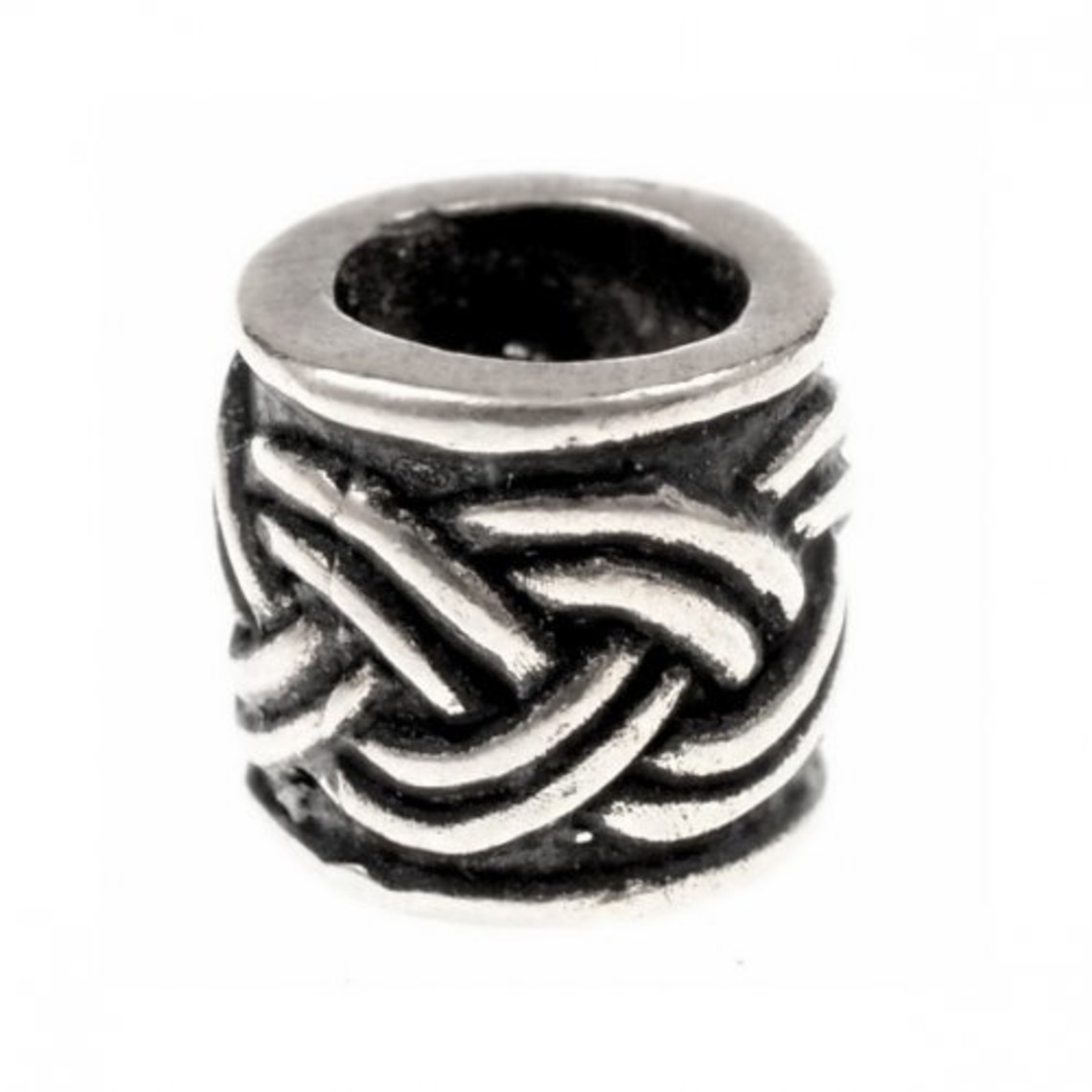 Beard bead with Celtic knot motif,silvered