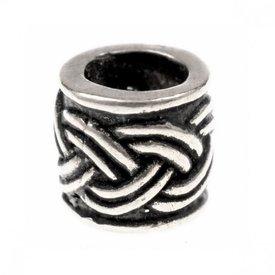 Skæg perle med Celtic knude motiv, forsølvede