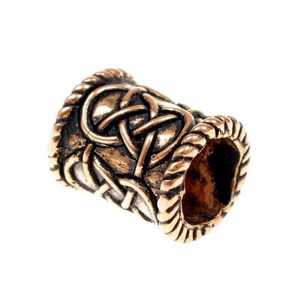 Beard bead with knot motif, bronze