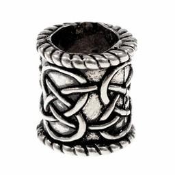 Broda perełek z motywem węzeł, posrebrzane