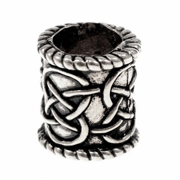 Beard bead with knot motif, silvered