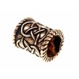 Cylindrical beard bead, bronze