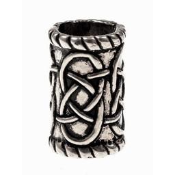 Cylindrical beard bead, silvered