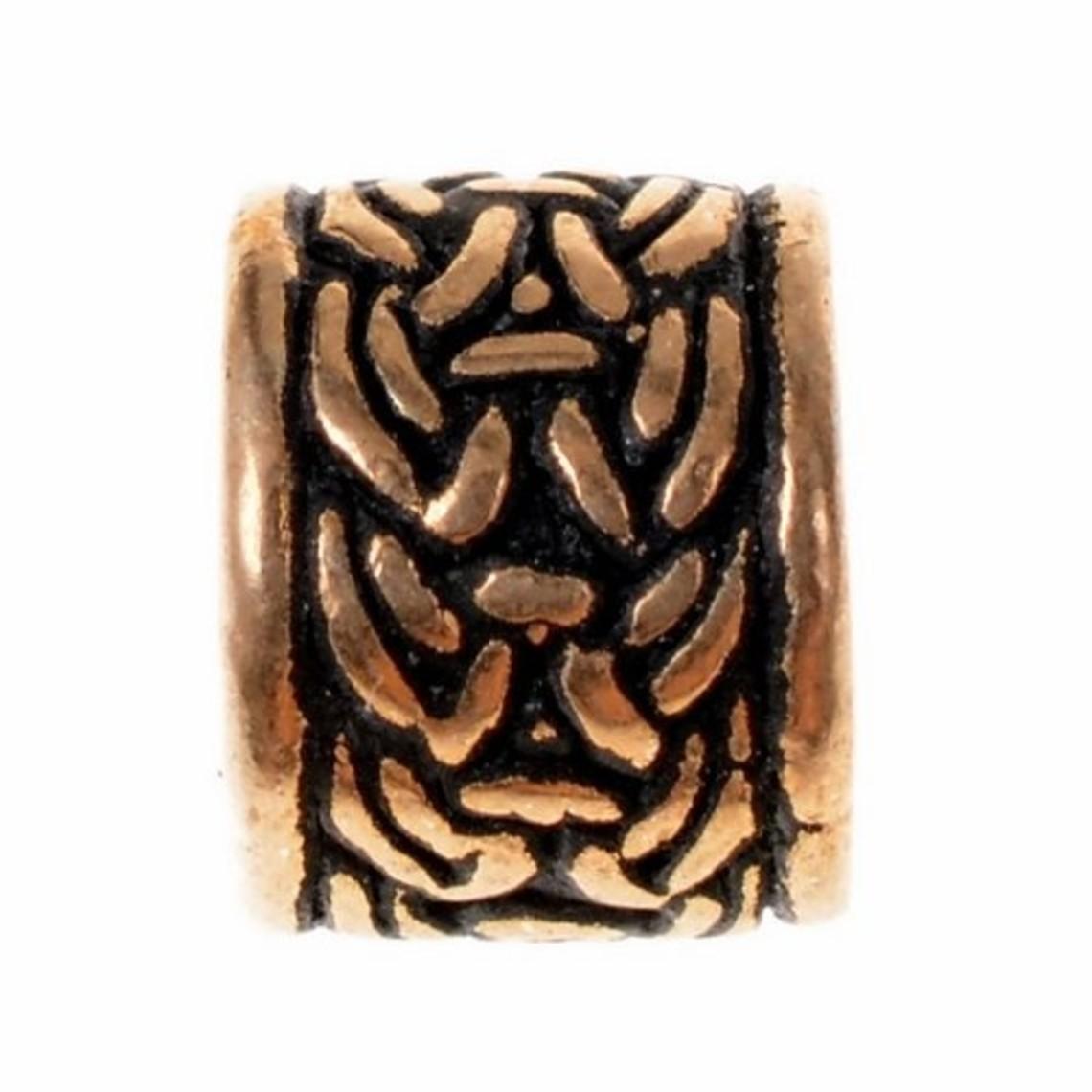 Viking skæg perle med knude motiv, bronze