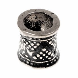 Granulated beard bead, silvered